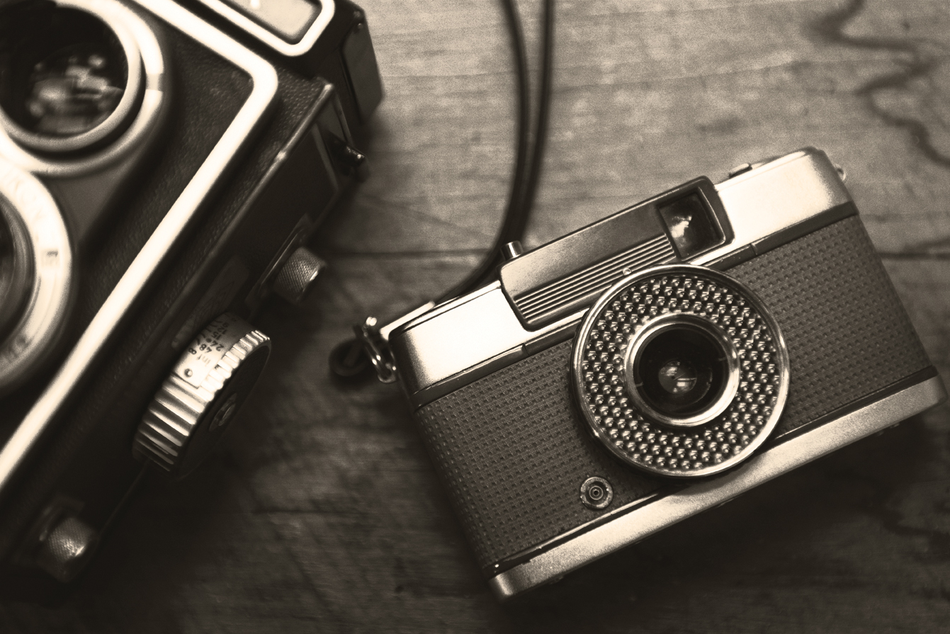 Closeup of film camera