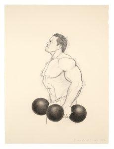 Bodybuilder 바디빌더 180x205cm, Spray on canvas, Colour pencil, 2014