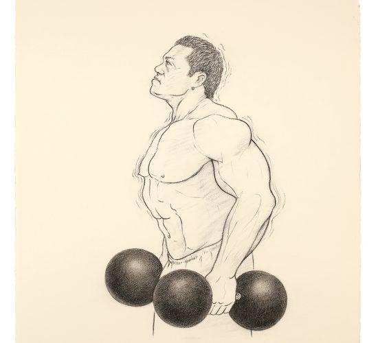 <b>Bodybuilder 바디빌더</b> 180x205cm, Spray on canvas, Colour pencil, 2014