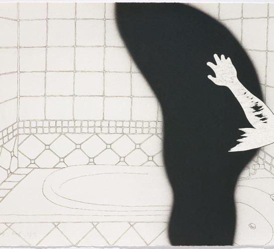 <b>Woman Who Preens at the Mirror</b> 거울 보는 여자 56x76cm, Spray on paper, Chines ink, 2007